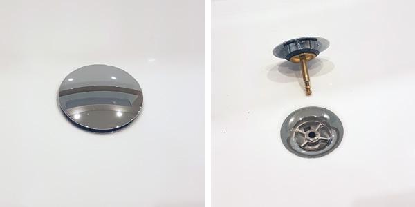 h nde weg von der zentralen schraube an abfl ssen von badewanne und dusche badewanne. Black Bedroom Furniture Sets. Home Design Ideas